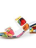 hesapli Gömlek-Kadın's Sandaletler Kalın Topuk Yuvarlak Uçlu Sentetikler Yaz Turuncu / Zıt Renkli