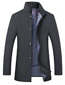 hesapli Erkek Ceketleri ve Kabanları-Erkek Günlük Temel Sonbahar Kış Uzun Kaban, Solid Dik Yaka Uzun Kollu Polyester Siyah / Deve / Koyu Mavi