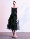 billige Maxikjoler-A-linje Kjære Telang Blonder Liten svart kjole Kjole med Perlearbeid / Appliqué / Belte / bånd av LAN TING Express