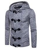 זול סוודרים וקרדיגנים לגברים-US32 / UK32 / EU40 / US34 / UK34 / EU42 / US36 / UK36 / EU44 שחור / אפור בהיר / חום עם קפוצ'ון פוליאסטר, קרדיגן רגיל שרוול ארוך אחיד בגדי ריקוד גברים