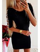 זול שמלות מיני-מעל הברך אחיד - שמלה צינור בגדי ריקוד נשים