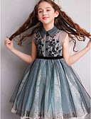 זול שמלות לילדות פרחים-גזרת A באורך  הברך שמלה לנערת הפרחים  - תחרה / טול ללא שרוולים צווארון גבוה עם חרוזים / פפיון(ים) / תחרה על ידי LAN TING Express