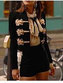 abordables Chemisiers Femme-Femme Quotidien Normal Veste, Couleur Pleine Col Arrondi Manches Longues Polyester Noir