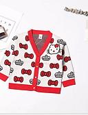 povoljno Džemperi i kardigani za djevojčice-Dijete koje je tek prohodalo Djevojčice Osnovni Geometrijski oblici Print Dugih rukava Džemper i kardigan Red