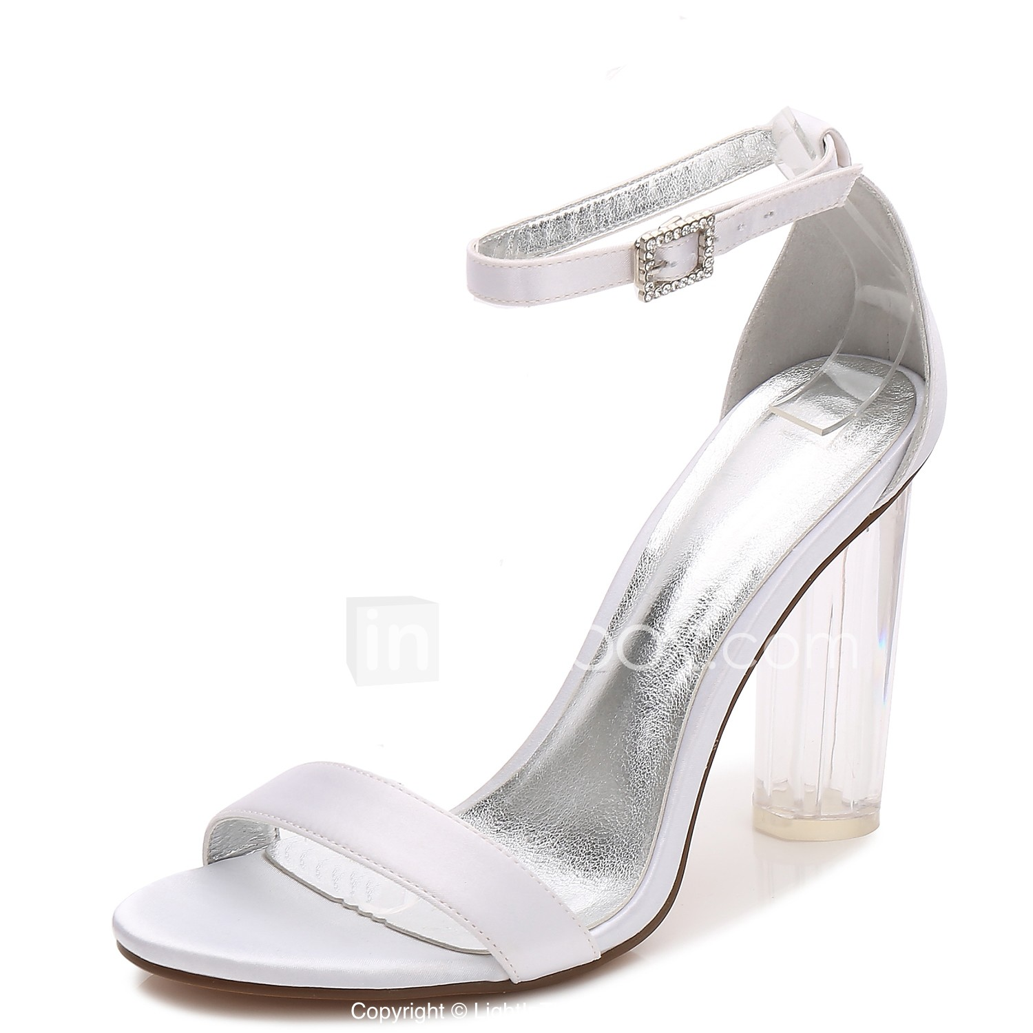0086e8c937 ... Satin Spring / Summer T-Strap / Basic Pump / Ankle Strap Wedding Shoes  Chunky Heel / Translucent Heel / Crystal Heel Round Toe Rhinestone /  Sparkling ...