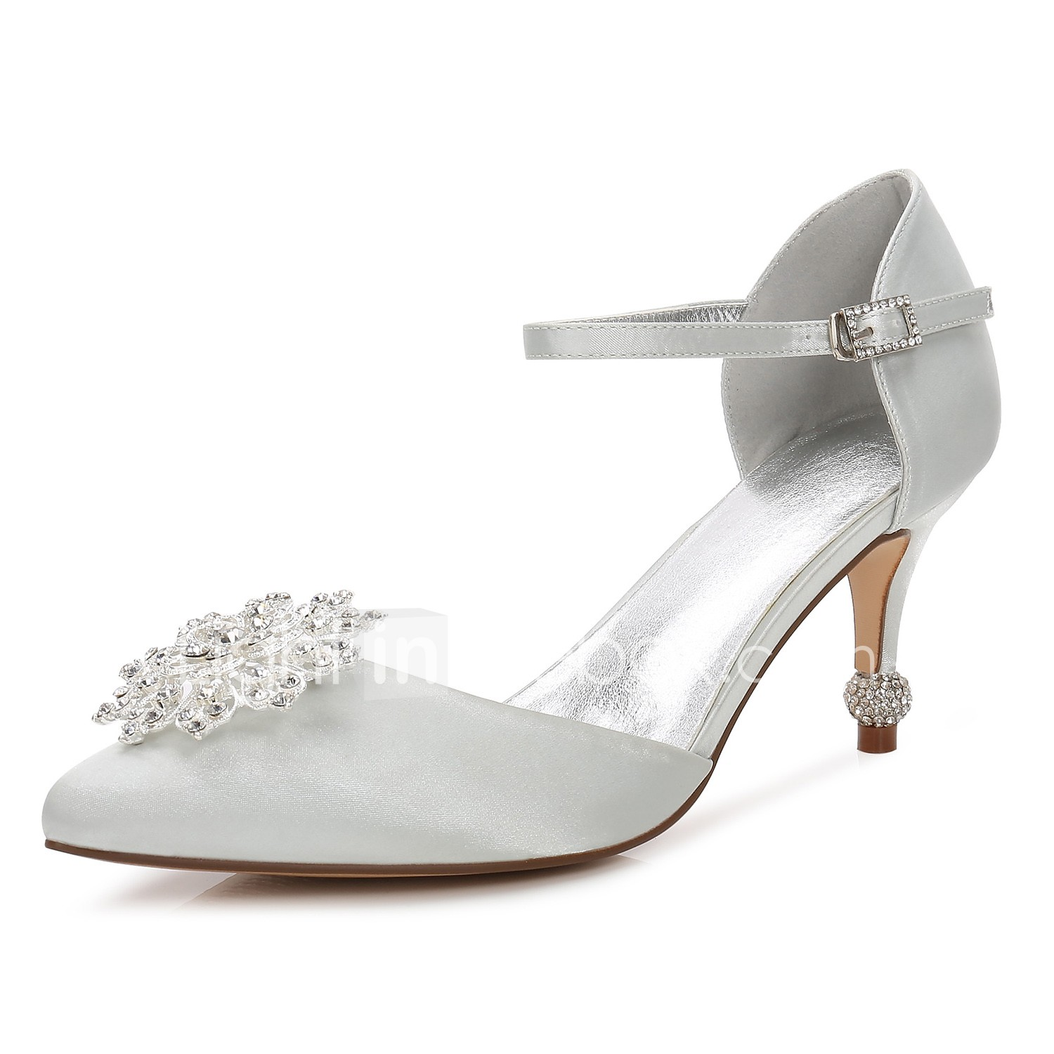 1c7ea1e79 Women's Shoes Satin Spring / Summer Comfort / D'Orsay & Two-Piece / Basic  Pump Wedding Shoes Kitten Heel Pointed Toe Rhinestone / #06589583