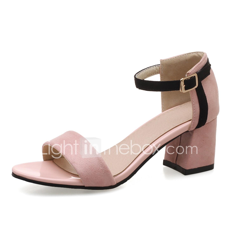 Mujer Zapatos Tela / PU Verano Talón Descubierto Sandalias Tacón Plano Negro / Rojo 0HD8I8r