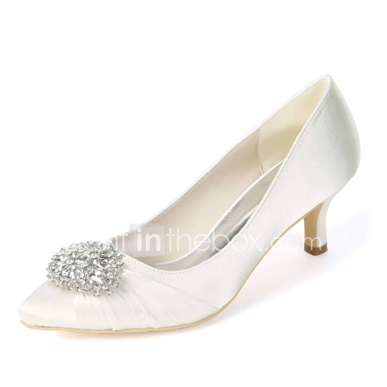 ab8106cd69d Women s Shoes Satin Spring   Summer Basic Pump Wedding Shoes Kitten Heel  Pointed Toe Rhinestone Royal Blue   Champagne   Ivory   Party   Evening   06764854