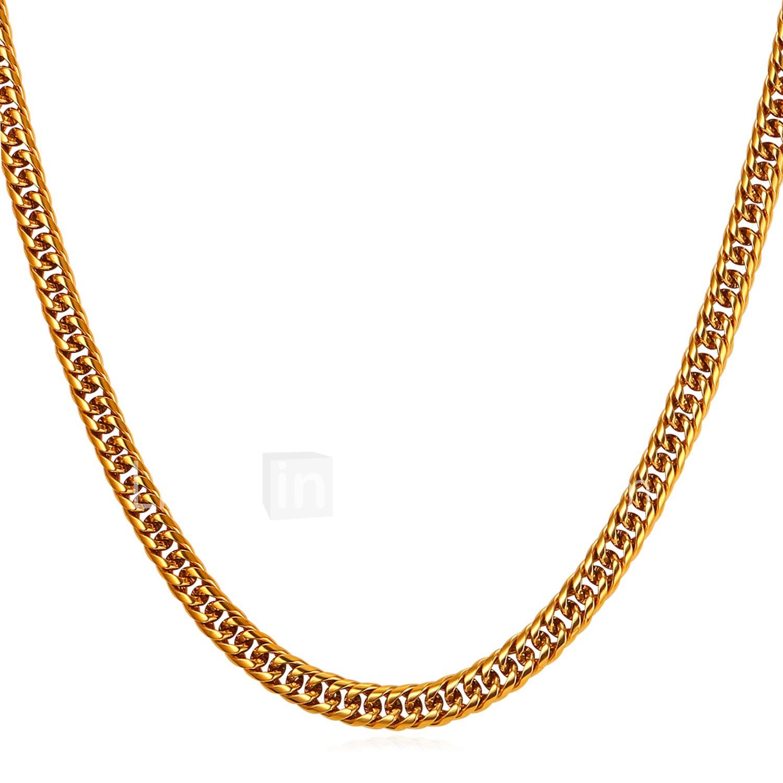 7b93c59f34b1 Hombre Collares de cadena Acero Inoxidable Moda Hip-Hop Dorado Negro ...