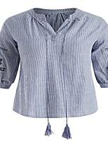 4f77fc0bbf74 billige Overdele til damer-Høj krave Løstsiddende Dame - Stribet  Plusstørrelser Skjorte Blå XXXL