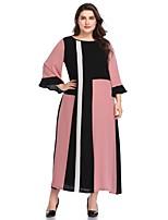 98931d20f17c Χαμηλού Κόστους Φορέματα Μεγάλα Μεγέθη-Γυναικεία Swing Φόρεμα - Γεωμετρικό  Συνδυασμός Χρωμάτων