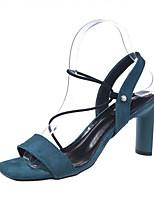 18ed124e5856b رخيصةأون أحذية النساء-نسائي PU الصيف صنادل كعب متوسط تو مربع أسود   أزرق