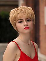 voordelige -Human Hair Capless Pruiken Echt haar Natuurlijk golvend / Natuurlijk recht Pixie-kapsel / Gelaagd kapsel / Asymmetrisch kapsel / Korte kapsels 2019 Stijl Leven / Hot Sale / Natuurlijke haarlijn Goud