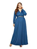 67e530400 رخيصةأون فساتين قياس كبير-فستان نسائي ثوب ضيق أساسي راقي ترتر طويل للأرض  لون سادة