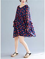 Χαμηλού Κόστους -Γυναικεία Βασικό Σιφόν Φόρεμα - Φρούτα, Στάμπα Πάνω από το Γόνατο