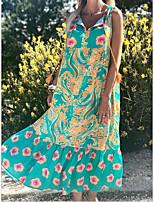 Χαμηλού Κόστους -Γυναικεία Swing Φόρεμα - Φλοράλ Μακρύ