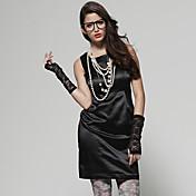Mujer Vaina Vestido Noche Simple Sensual,Un Color Escote Cuadrado Hasta la Rodilla Sin Mangas Algodón Satén Verano Tiro Alto