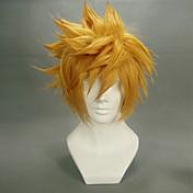 Pelucas de Cosplay Kingdom Hearts Roxas Dorado Corto Anime/Videojuego Pelucas de Cosplay 35 CM Fibra resistente al calor Hombre