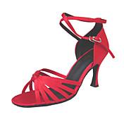 Mujer Latino Salón Satén Sandalia Tacones Alto Hebilla Tacón Stiletto Dorado Rojo Rojo Oro No Personalizables