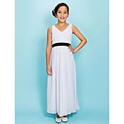 Vestido de Dama de Honor Junior - Blanco Corte Recto Escote en V Hasta el Tobillo Gasa