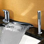 Moderno Bañera y ducha Cascada Separado Válvula Cerámica 3 Orificios Dos asas de tres agujeros Cromo , Grifo de bañera
