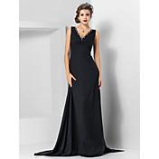 シース/コラムVネックスイープ/ブラシトレインワトートレインシフォンイブニングドレス