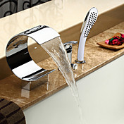 コンテンポラリー ローマンバスタブ 滝状吐水タイプ ハンドシャワーは含まれている セラミックバルブ 三つ シングルハンドル三穴 クロム , 浴槽用水栓