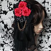 Joyas Gosurori Para la Cabeza Lolita Hombre Mujer Accesorios de Lolita Floral Tocados Tela de Encaje Gemas Artificiales