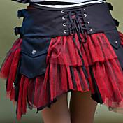 Gosurori Lolita Mujer Falda Cosplay Negro Blanco Rojo