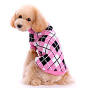 犬用品 セーター ピンク 犬用ウェア 冬 / 春/秋 格子柄 キュート / 保温