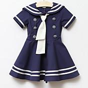 女の子の コットン ドレス 夏 半袖 ホワイト ブルー ピンク