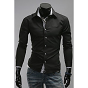 DJJMメンズファッションレジャー新ロングスリーブネックタイニー変更シャツ(画面の色)