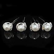 成人用 ラインストーン 合金 人造真珠 かぶと-結婚式 パーティー ヘアピン 4個