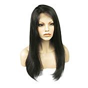 20インチ150%密度ナチュラルブラック100パーセントのインドの人間の毛髪の完全なレースのかつら