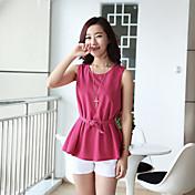 (ベルト付き)WeiMeiJia女性のファッションソリッドカラーSleevlessニットトップ(フクシア)