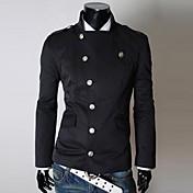 男性用 プレイン カジュアル ジャケット,長袖,コットン混,ブラック / グレー / ベージュ / タン