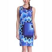 婦人向け ワーク シース ドレス,幾何学模様 ラウンドネック ミニ ノースリーブ ブルー ポリエステル / スパンデックス 夏