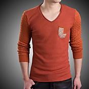 Camiseta De los hombres A Rayas-Casual / Trabajo-Algodón / Mezcla de Lana-Manga Larga-Azul / Rojo