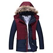 skymoto®男性の毛皮の襟プラスサイズ厚手のパッチワーク綿のコート(もっと色)