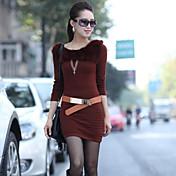 vestido de punto con cuello redondo ocasional de las mujeres de una sola xuan