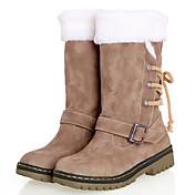 レディース 靴 レザーレット 春 冬 ローヒール ミドルブーツ とともに リボン 用途 カジュアル キャメル ブラウン ベージュ