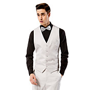 chaleco de traje de corte poliéster sólido sólido gris claro sólido con un solo pecho más botones