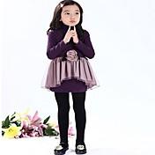 Vestido Chica de Un Color Manga Larga Primavera Otoño Negro Morado