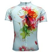 JESOCYCLING Maillot de Ciclismo Mujer Manga Corta Bicicleta Camiseta/Maillot Top Ropa para Ciclismo Secado rápido Transpirable Flores /