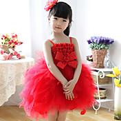 Vestido de bola vestido de la muchacha de flor de la longitud de la rodilla - correas sin mangas de algodón con el arco (s)