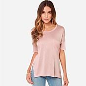 婦人向け カジュアル/普段着 夏 Tシャツ,シンプル ソリッド ピンク / グレイ コットン 半袖 ミディアム