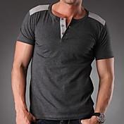 Camiseta De los hombres Un Color-Casual / Trabajo / Deporte / Tallas Grandes-Algodón / Espándex-Manga Corta-Negro / Azul / Marrón /