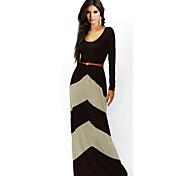 レトの女性のエレガントなコントラストカラー装着ドレス