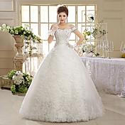 Salón Hasta el Suelo Encaje Tul Vestido de novia con Cuentas Lentejuela Apliques por QQC Bridal