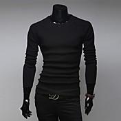 Camisetas ( Algodón )- Casual / Trabajo Redondo Manga Larga para Hombre